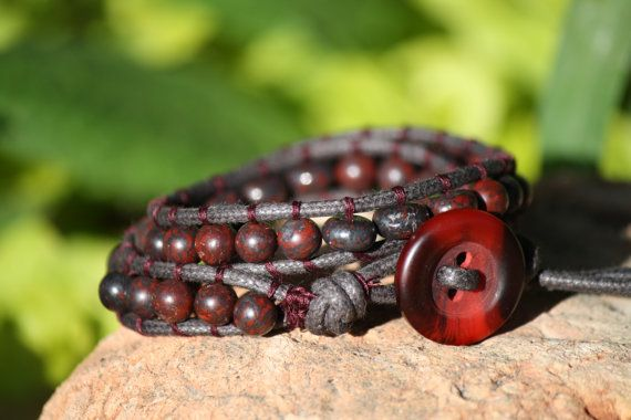 Gemstone wrap bracelet. Hey, I found this really awesome Etsy listing at https://www.etsy.com/listing/192534595/red-brecciated-jasper-gemstone-wrap