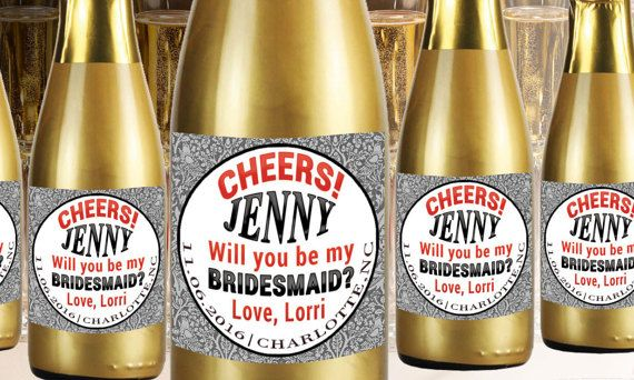 Check out this item in my Etsy shop https://www.etsy.com/listing/274466942/custom-mini-champagne-label-bridesmaid