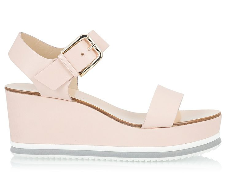 Vicini Nude vacchetta leather mid wedge heel sandals #ViciniShoes #GiuseppeZanotti #Sandals