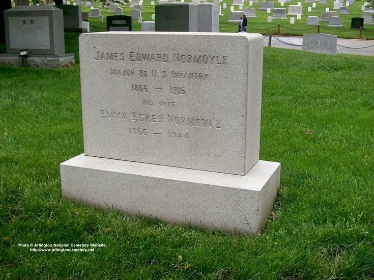 Major James Edward Normoyle in Arlington National Cemetary, Washington USA. A Victim of Blood Poisoning he died suddenly. He Was One of the US Armys Best Known Officers, a Transportation Expert. Gained Fame in 1911 @ the Mexican Border Mobilization; & by Order of President Taft directed Relief Work in 1912 in the great Mississippi Floods. By order of President Wilson he took charge of the Dayton, Ohio flooding & handled The Gettysburg 50th Anniversary Encampment of Union & Confederate…