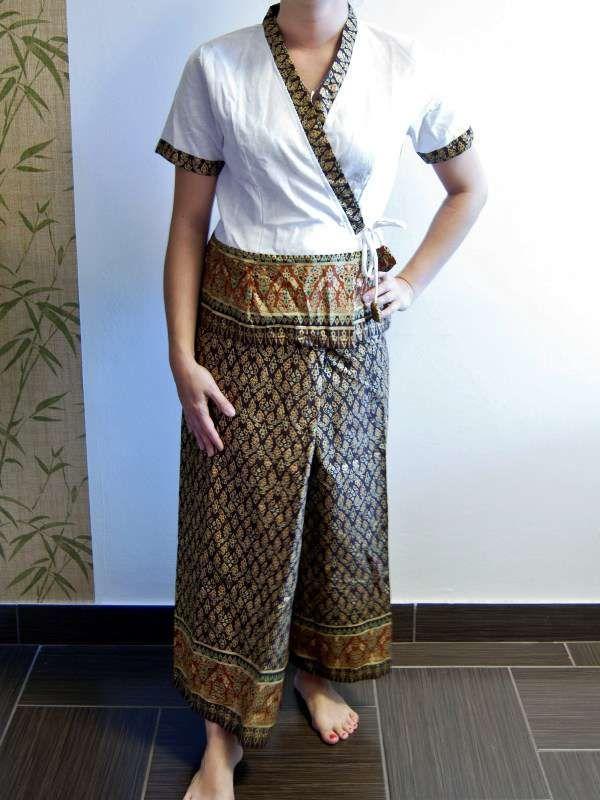 Thai spa therapist uniform 04 thai massage pinterest for Spa uniform patterns