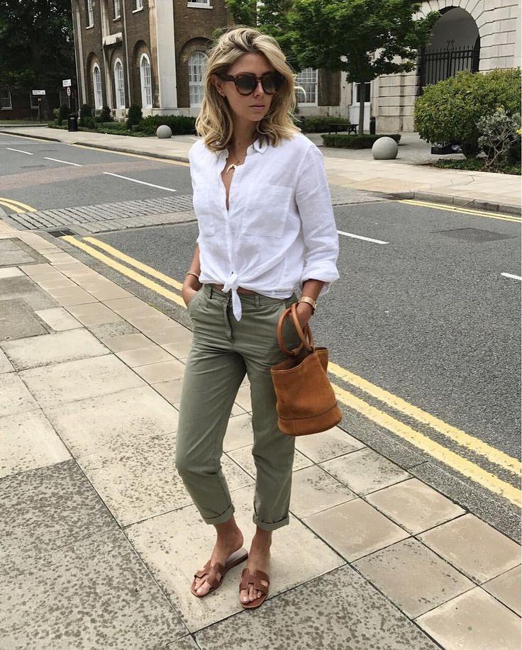 Olive khakis, white linen tie front shirt, brown leather Hermes slide sandals