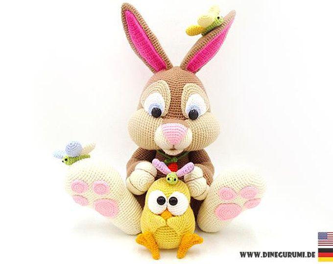 Rabbit Xl Crochet Pattern Amigurumi Amigurumi Giocattoli Fatti