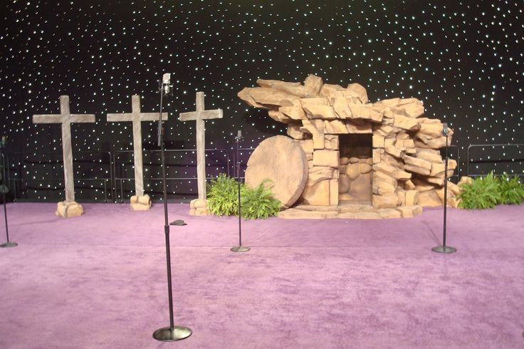 Foam replica of Christ's Tomb constructed as a stage prop for a church's Easter Sunday service.