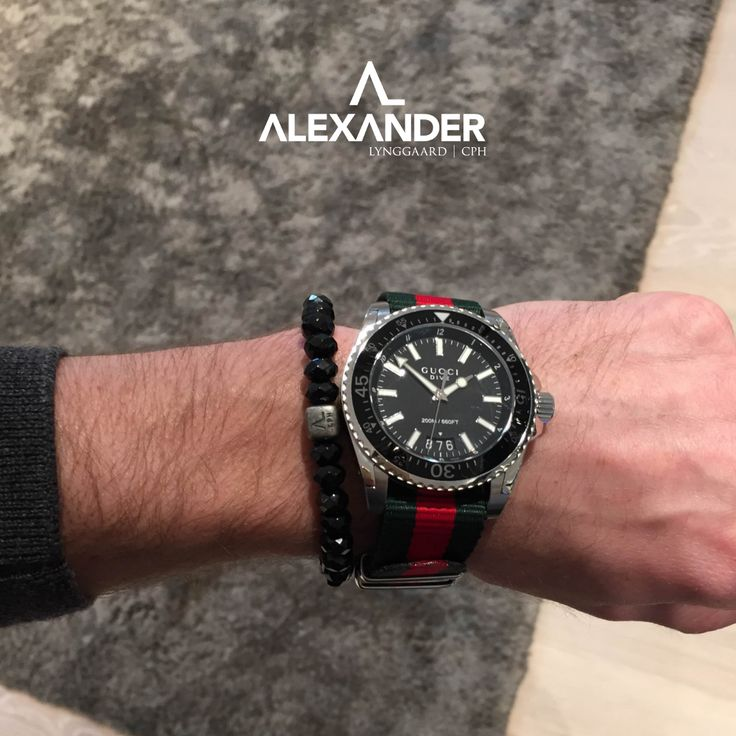 Our ColorUp Black Spinel bracelet fits perfectly with this raw Gucci watch.