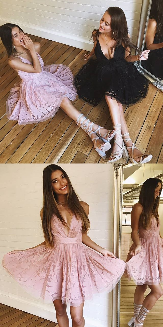 Aline vneck sleeveless above knee pink lace homecoming dress