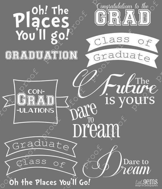 Graduation Photoshop Brushes Word Art Set / Overlays for Photographers / Clip Art / Digital Stamps / Digital Scrapbooking