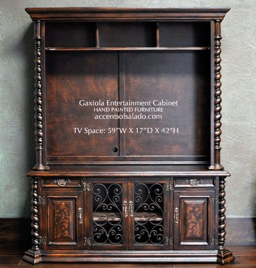 Old World Entertainment Cabinet Hand Carved Details