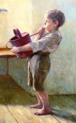 George Iakovidis  Γεώργιος Ιακωβίδης (1852-1932),   «Μικρός με ποτηστήρι» π. 1920,  λάδι σε μουσαμά, 96,4x60,3 εκ.