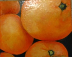 Oranges...still life in acrylic.  12 inches by 12 inches.