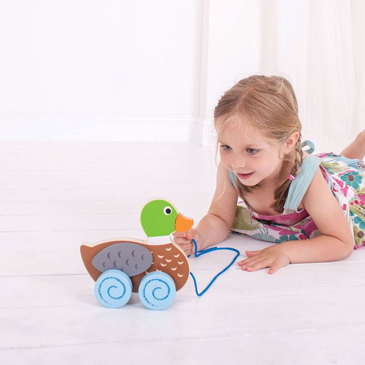 Encourage your little one's dexterity and confident mobility with this pull along. This classic wooden toy features moving wings and colourful, offset wheels for lots of wobbly, pull along fun.