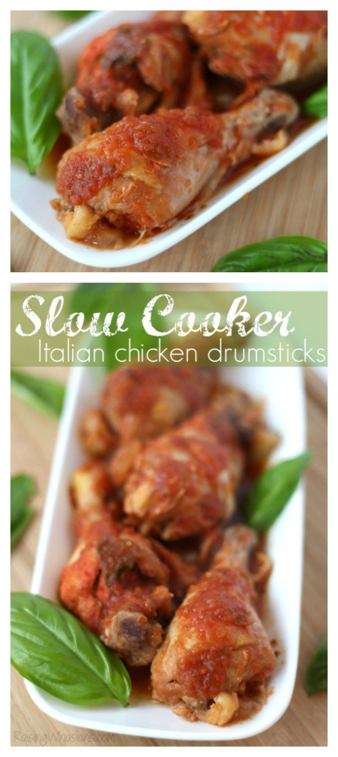 Easy Slow Cooker Chicken Drumsticks Italian Style - Easy Crock Pot Chicken Drumstick Dish for busy nights