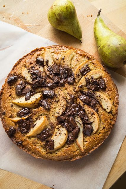 Pear, chocolate & cardamon cake.