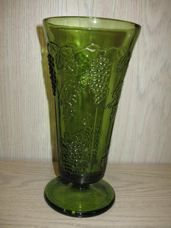 Indiana Glass Co Large Vase Harvest Green Grape Leaves Design 1950 2002 Indiana Glass Large Vase Glass