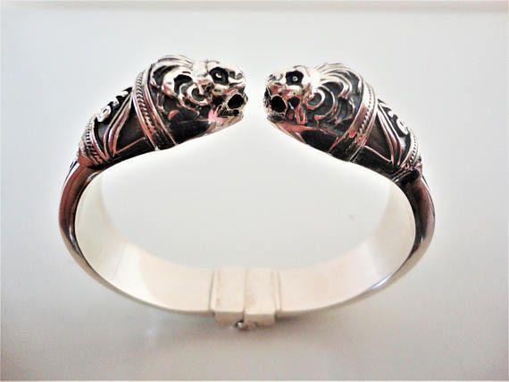 Lion head 925 Sterling Silver Bracelet. Ancient Greek style