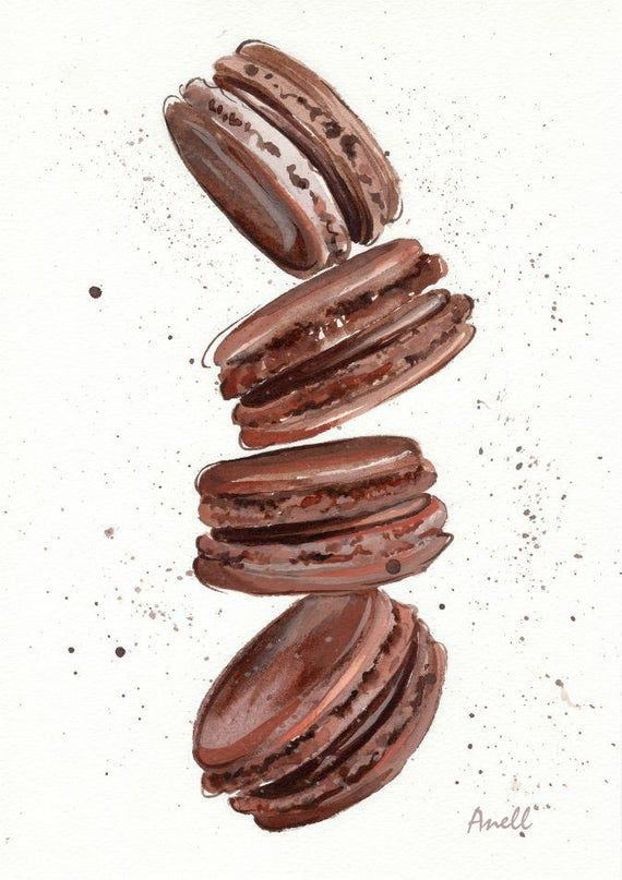 Chocolate Macaroon Watercolor Print – Painting – Chocolate Pastry Wall Decor – Poster Giclee wall print Home Wall decor – Baby nursery print