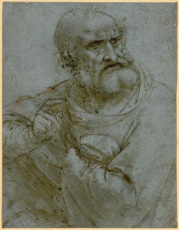 Leonardo da Vinci: Halbfigur eines Apostels, 1493-1495; Albertina, Wien