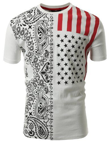 SMITHJAY Mens Hipster Hip-Hop Freedom American Flag Paisley Print T-shirt