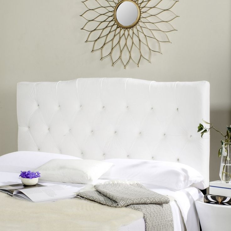Safavieh Furniture Axel White Tufted Headboard - Dress up a guest room or master suite with the deeply tufted Axel headboard. With posh button-tufted upholstery in lush white velvet, this comfortably padd