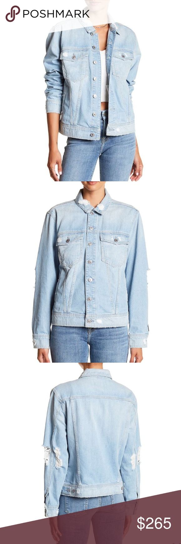 *NEW ARRIVAL* 7 FOR ALL MANKIND Boyfriend Denim Jacket: spread collar, long sleeves with button cuffs, front button closure, has distressed detail, Approx. 22in(L) *model is wearing a size small  •WILL ADD PICTURES OF ACTUAL ITEM ASAP• 7 For All Mankind Jackets & Coats Jean Jackets