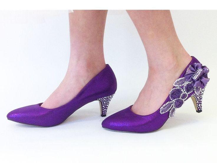 Purple Wedding Shoes - Bridal - Bridesmaids - Mid Heel Ladies Shoes - Size 4