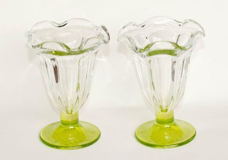 Vintage Uranium Green Tulip Soda Fountain Glass | Ice Cream Sundae Glass
