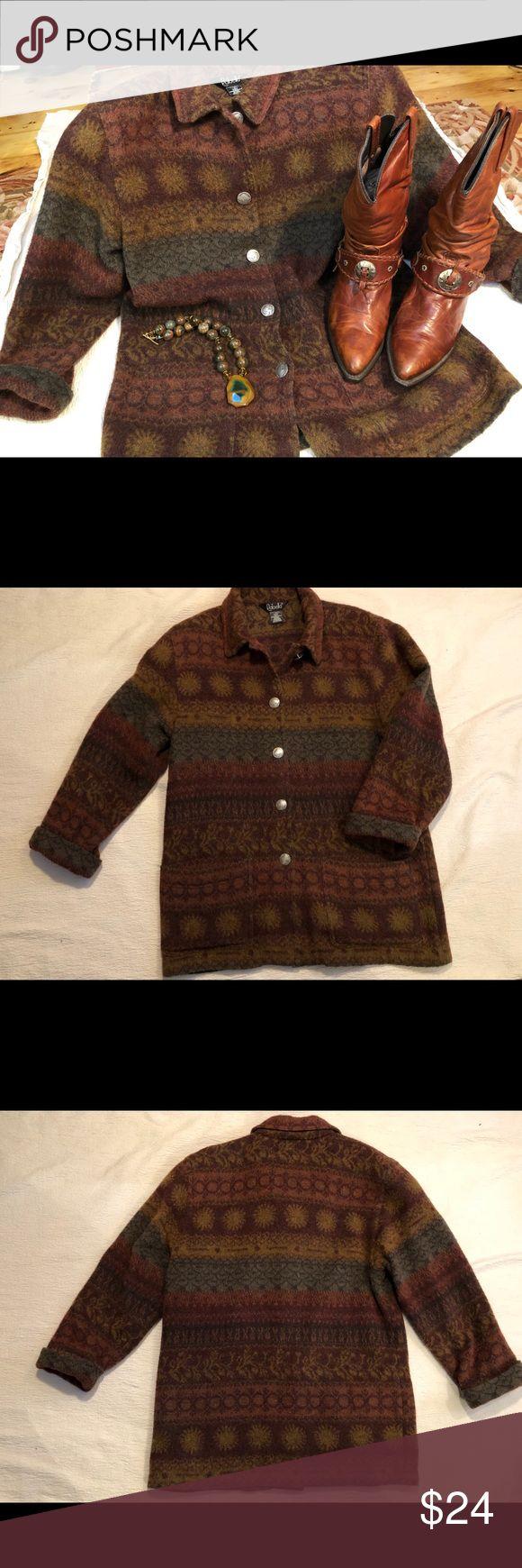 Rafaella jacket blanket style sz. Medium Blanket style jacket 50% wool. Warm brown , rust , gold . Unusual buffalo nickel style buttons !  Warm , cozy , and stylish! Size medium . Rafaella Jackets & Coats Blazers