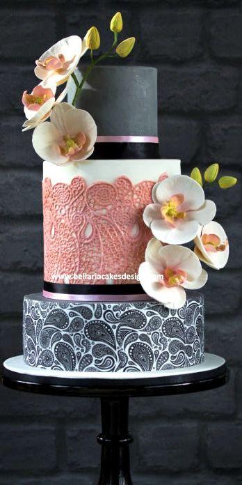 Indian Weddings Inspirations. Pink orchid Wedding Cake. Repinned by #indianweddingsmag indianweddingsmag.com #weddingcake