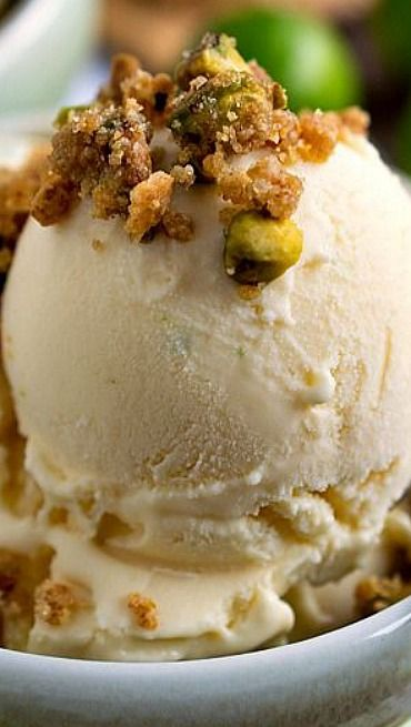Key Lime Ice Cream with Graham Cracker Pistachio Crumb Topping