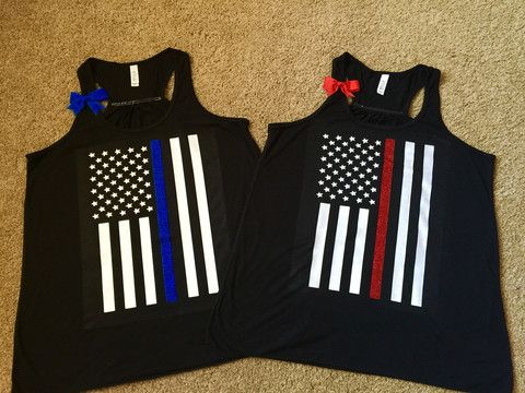 Thin Red Line - Thin Blue Line - Flag Shirt - Ruffles with Love - Law