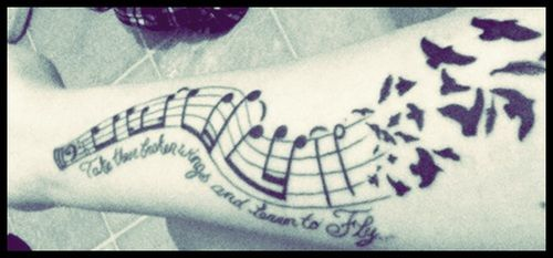 sheet music tatto | favorite band The Beatles. The notes are from the actual sheet music ...