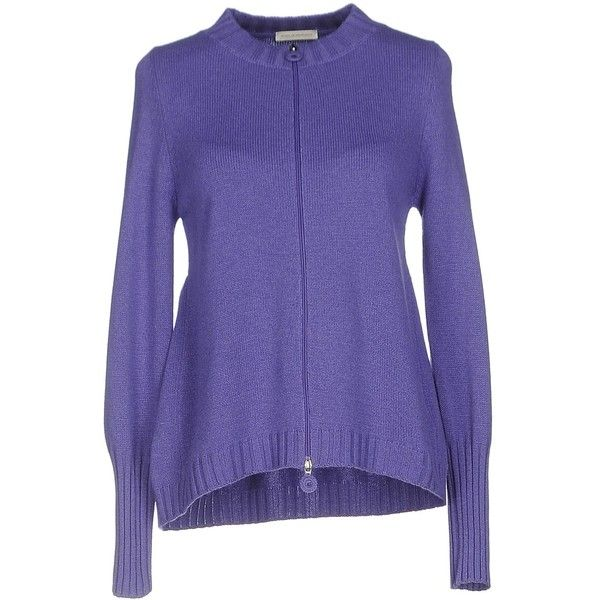 Maria Di Ripabianca Cardigan (1 100 PLN) ❤ liked on Polyvore featuring tops, cardigans, purple, cardigan top, purple cardigan, purple long sleeve top, blue top and long sleeve cardigan