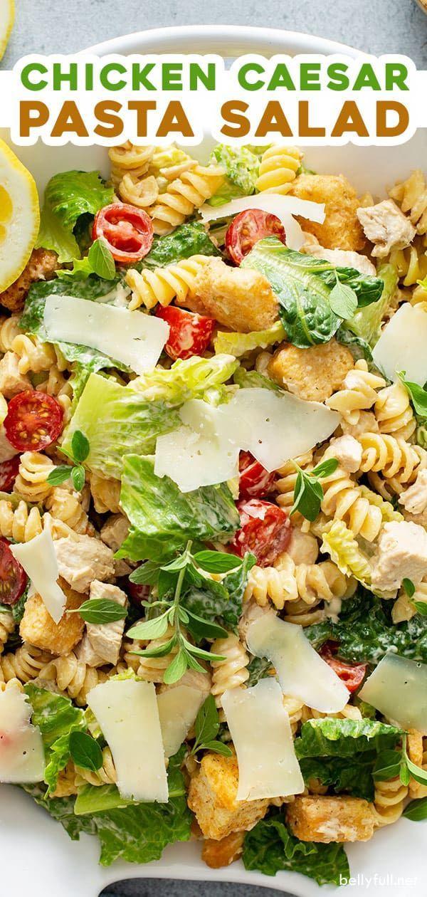 Chicken Caesar Salat Mit Pasta