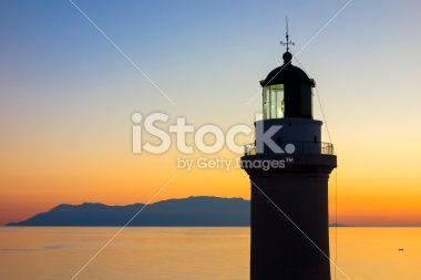 Lighthouse, the landmark of the city Alexandroupolis at the sunet. Greece