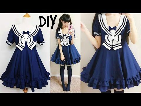 792 best lolita diys images on pinterest carnivals costume diy easy navy sailor dress short sleeves step by step with pattern pattern solutioingenieria Image collections