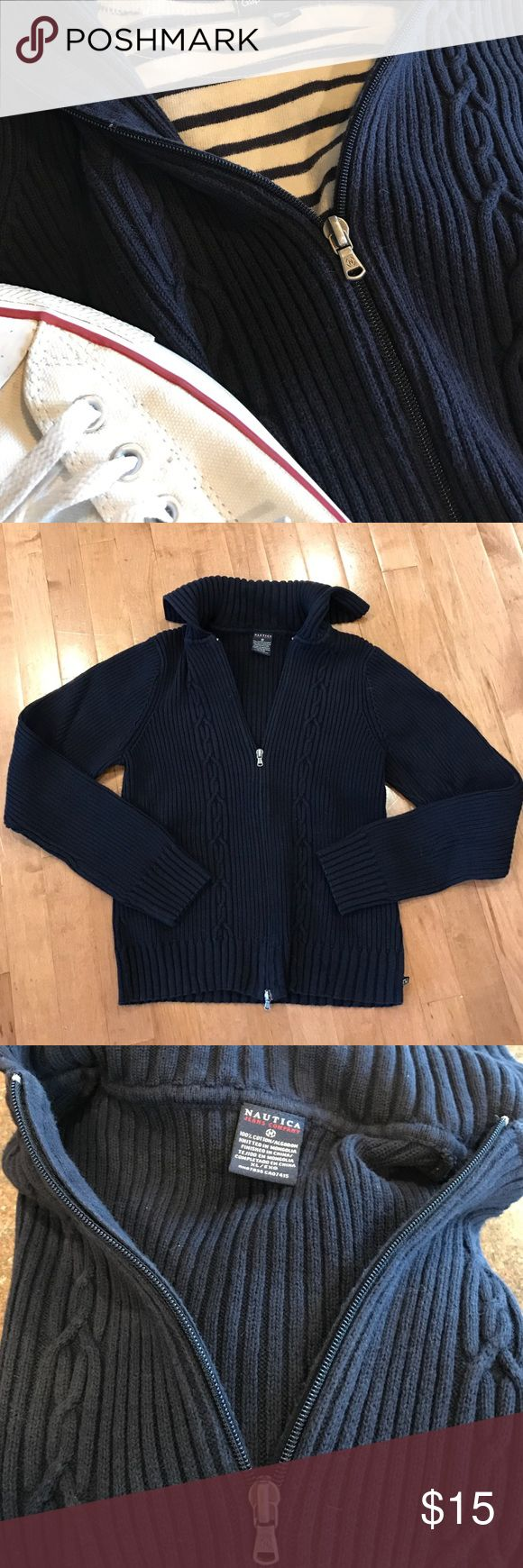 Nautical zip up navy blue sweater women's XL Classic nautical looking navy sweater by Nautica, a great layering piece with zip up front , comfortable ribbed knit, and cool color. Women's size XL Nautica Sweaters Cardigans