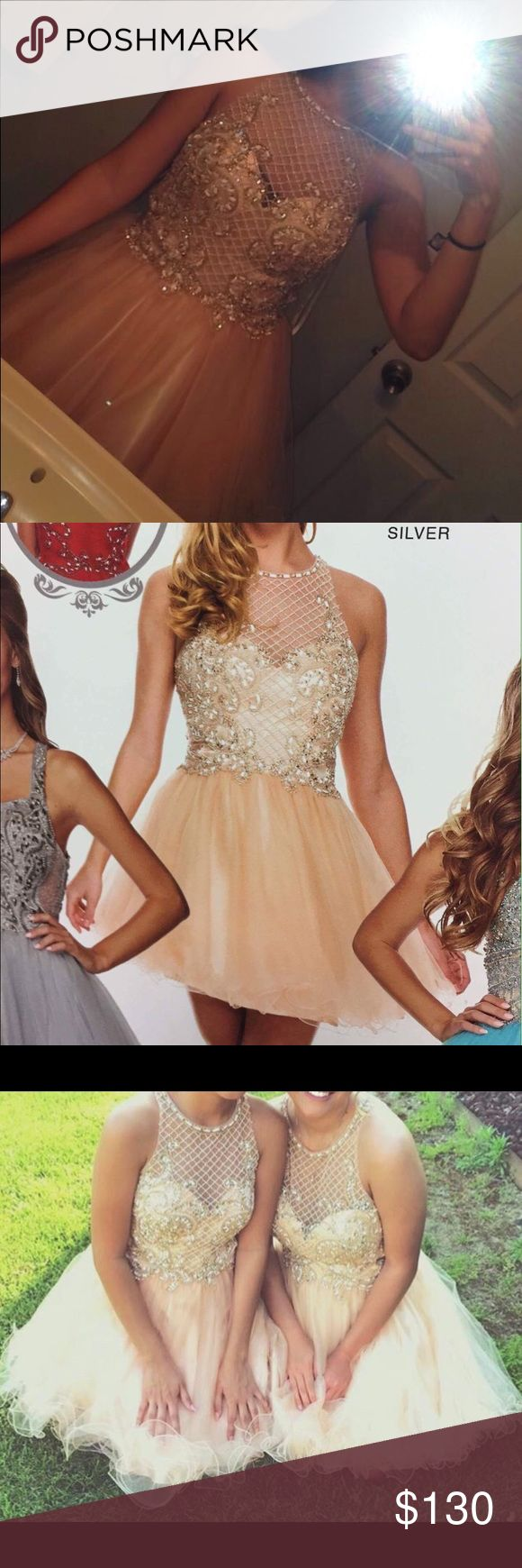 Champagne colored homecoming dress Beautiful homecoming dress, only worn once. In very good condition. I have matching heels if you are interested I will sell them for only $20 Dresses Mini