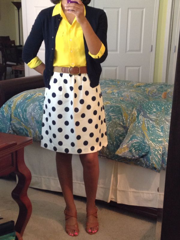 Polka Dotted Skirt + Yellow Blouse + Navy Cardigan