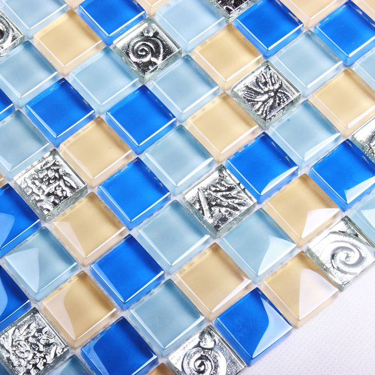 Mediterranean style blue crystal glass shell mosaic tiles EHM1034 for kitchen backsplash bathroom shower wall mosaic tiles #Affiliate