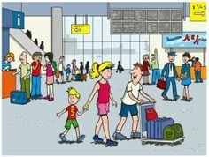Op het vliegveld praatplaat