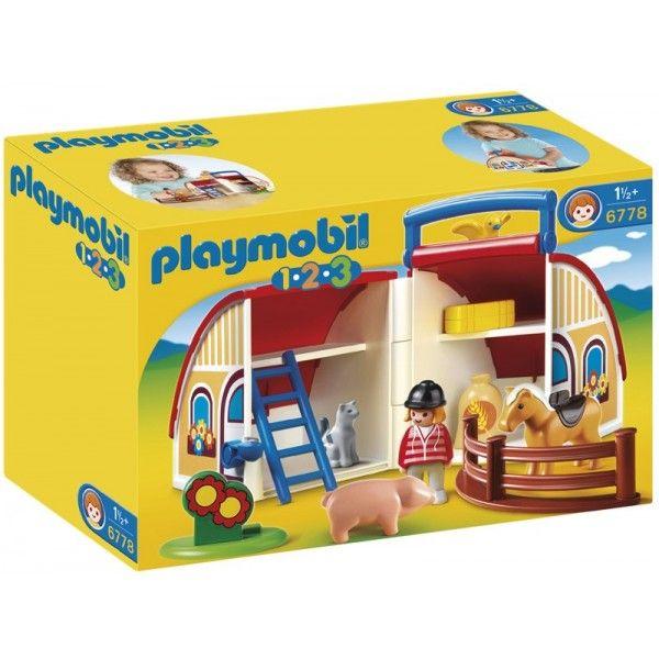 Playmobil 6778 - Moja Przenośna Stadnina Koni bezpieczny dla Najmłodszych. W zestawie Playmobil 6778 figurka dżokeja, koń, zwierzęta domowe, akcesoria i stadnina