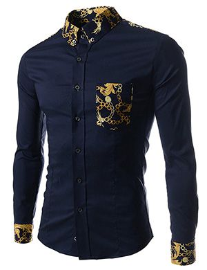 (CE92-NAVY) Slim Fit Stretchy Pattern Patched 1 Chest pocket Long Sleeve Shirts