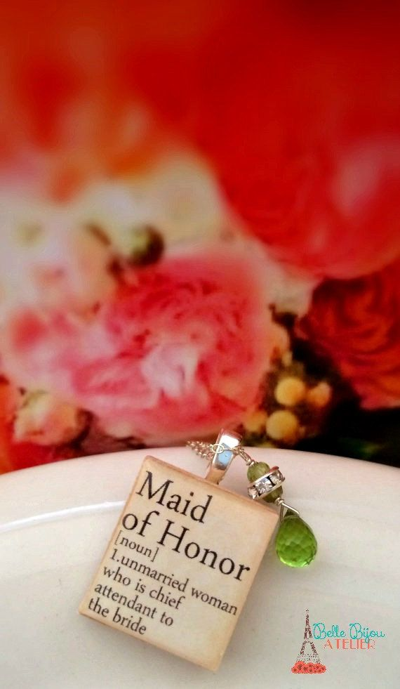 Maid Of Honor Scrabble Charm Sterling Silver Necklace by Belle Bijou Atelier; LOVE LOVE LOVE this