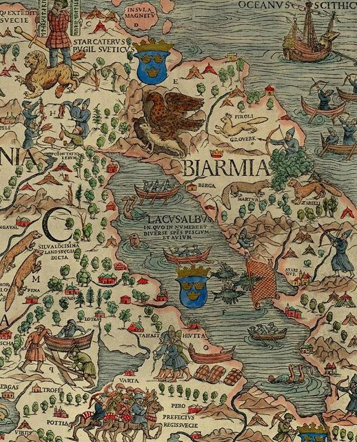 Detail of Russian Lapland and Norway, Carta Marina Olaus Magnus 1555 by saamiblog, via Flickr