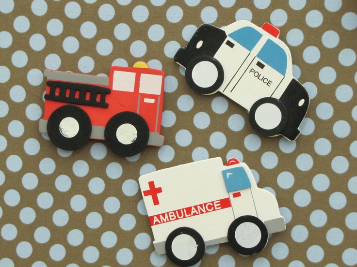 Fire Truck Ambulance Police Car MAGNETS, children's room, organize, memo board, magnetic board WALL DECOR the charming wall. $17.00, via Etsy.