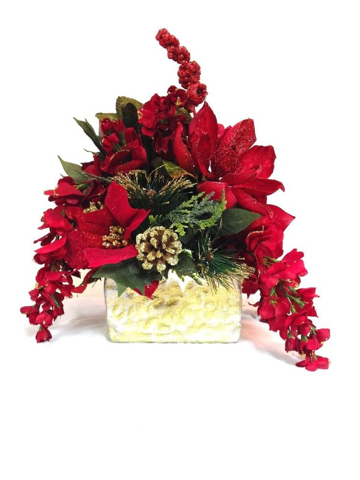 425 best images about christmas flower arrangements on for Poinsettia arrangements