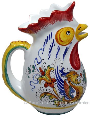 Italian Ceramic Deruta Majolica Rooster Pitcher; an Italian classic in restaurants and taverns; I've had mine for years and love it.