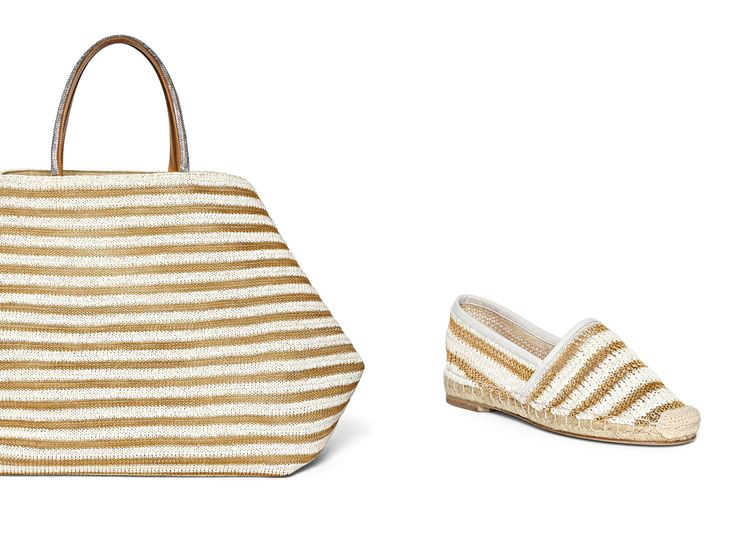 Never too early to plan that beach vacation. Ermanno Scervino Pre Spring 2016 maxi stripe raffia espadrilles and basket bag with jewel handles #ErmannoScervino
