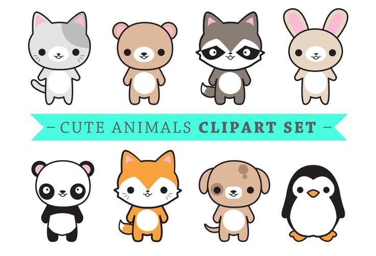 Premium Vector Clipart Cute Animals Kawaii Animals Cute Etsy Schattige Tekeningen Schattige Dieren Dieren