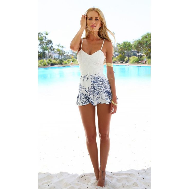 Summer Casual Sweet Women Spaghetti Strap Overalls Romper Backless Slim Playsuits